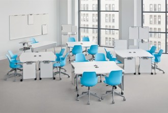 Verb tables in chairs in groups.