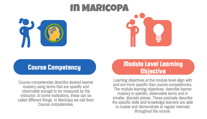 competency versus objective in maricopa
