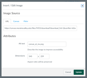 Find the Alt Text field on the image dialogue