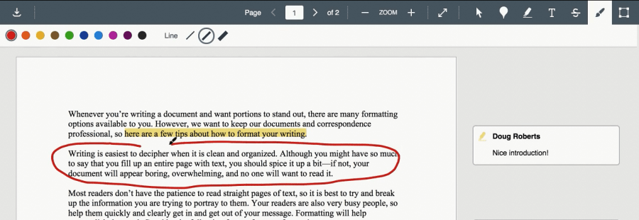 lines may be free drawn into the document for annotations