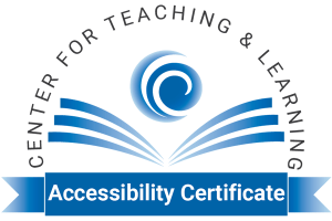 CTL Accessibility Certificate seal depicting the CTL logo over an open book, surrounded by the department name and the words Accessibility Certificate underneath