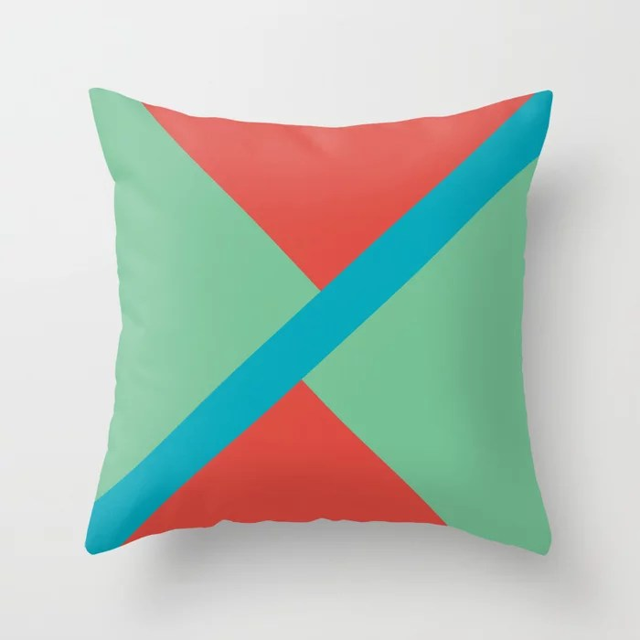 Blue-Green Red Green Diagonal Shape Pattern 2021 Color of the Year AI Aqua 098-59-30 Throw Pillow