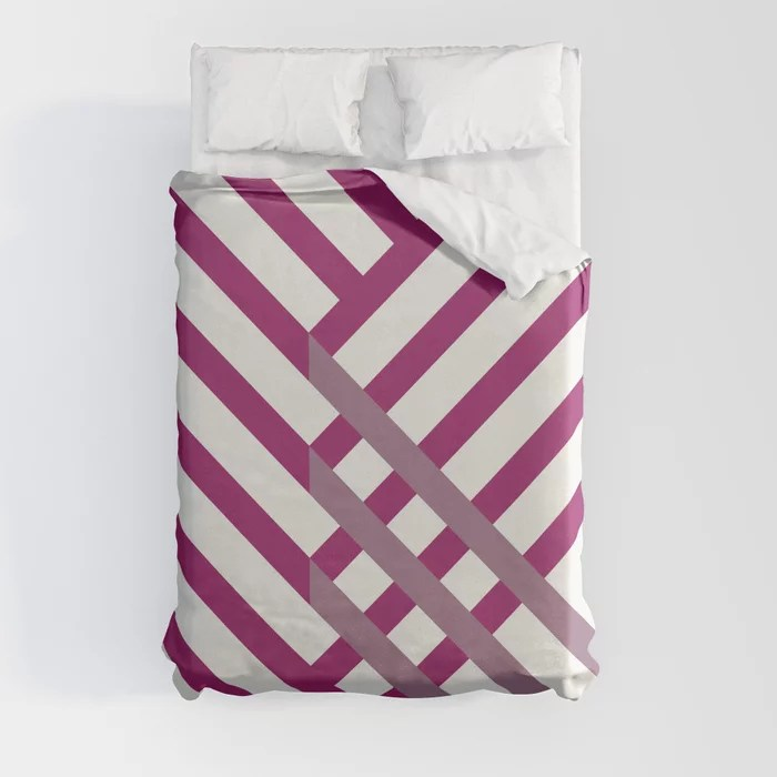Magenta, Gray and White Diagonal Stripe Pattern - Colour of the Year 2022 Orchid Flower 150-38-31 Duvet Cover - color for 2022