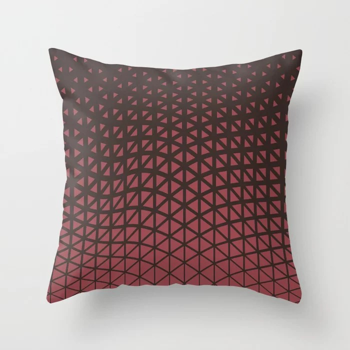 Red and Brown Geometric Triangle Wave Pattern 2021 Color of the Year Passionate & Dark Bronzetone Throw Pillow