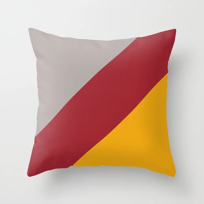 Red Orange Gray Diagonal Stripe Design 2021 Color of the Year Satin Paprika and Accent Shades Throw Pillow