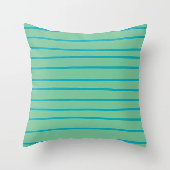 Aqua Blue and Green Stripe Pattern 2021 Color of the Year AI Aqua and Quiet Wave Throw Pillow