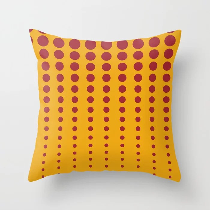 Orange & Red Reduced Polka Dot Pattern Rustoleum 2021 Color of the Year Satin Paprika Harvest Peach Throw Pillow