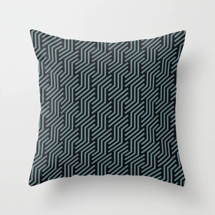 Soft Aqua Blue Black Tessellation Line Pattern 21 2021 Color of the Year Aegean Teal Throw Pillow
