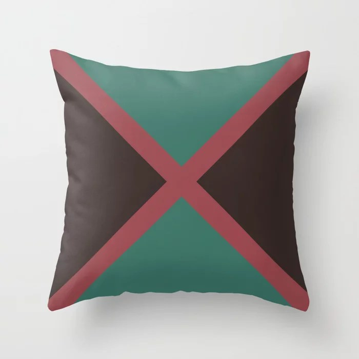 Red Dark Green Brown Minimal Line Pattern Pairs HGTV 2021 Color of the Year Passionate Throw Pillow
