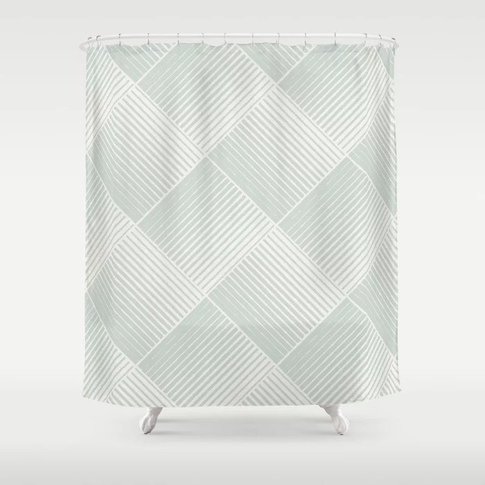Mint Green and Cream Mosaic Stripe Pattern Behr 2022 Color of the Year Breezeway MQ3-21 Shower Curtain. 2022 color trend