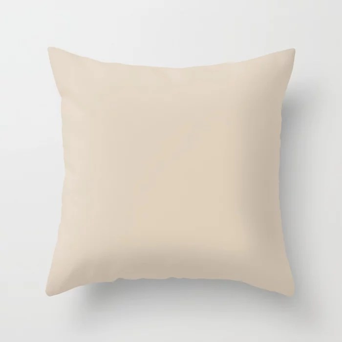 PPG Glidden Accent Color to Aqua Fiesta Sourdough (Tan Beige) PPG1084-3 Solid Color Throw Pillow