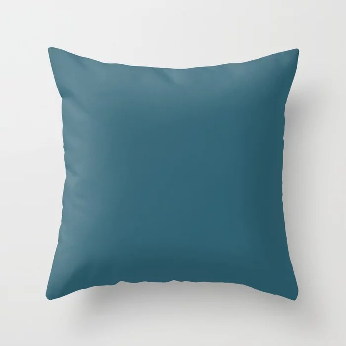 Chic Aqua Blue Green Trending Solid Color: Hue inspired by and matches (pairs / coordinates with) Jolie 2021 Color of the Year Accent Shade Deep Lagoon Throw Pillow