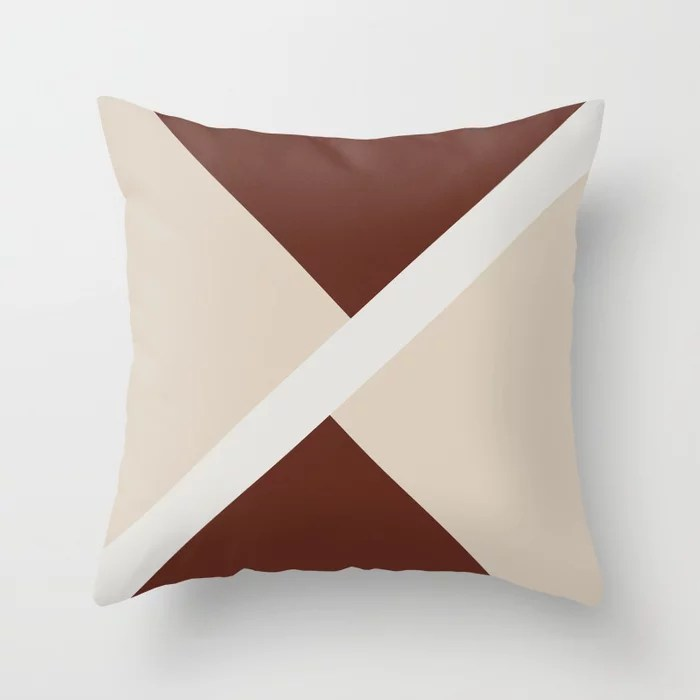 Beige White Red-Brown Stripe Offset Shape Design: Hues were inspired by and match (pair / coordinate with) 2021 Color of the Year Uptown Ecru & Accent Shade Throw Pillow