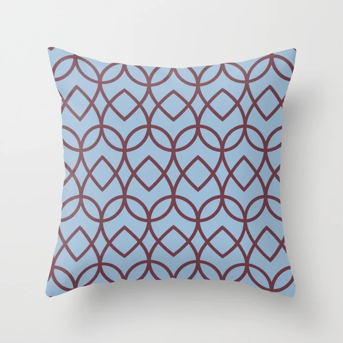 Pastel Blue and Burgundy Geometric Pattern Teardrop Throw Pillows inspired by and pairs to (matches / coordinates with) Dutch Boy 2021 Color of the Year Earth's Harmony and Mulberry Tree