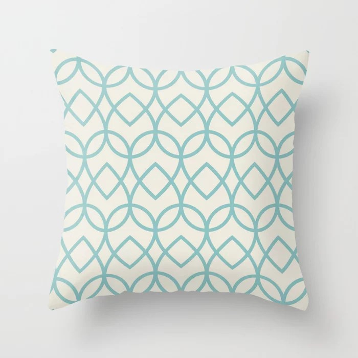 Pastel Teal and Cream Teardrop Line Pattern 2021 Color of the Year Aqua Fiesta and Horseradish Throw Pillow