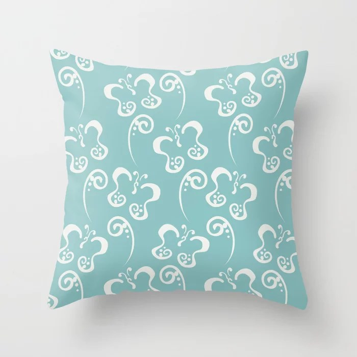 Aquamarine Butterfly and Scroll Pattern V2 2021 Color of the Year Aqua Fiesta and Delicate White Throw Pillow