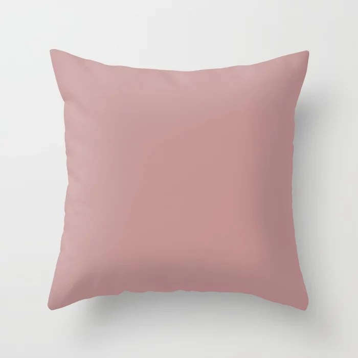 Muted Rouge Pastel Pink Solid Color Pairs To Sherwin Williams Pressed Flower SW 6304 Throw Pillow