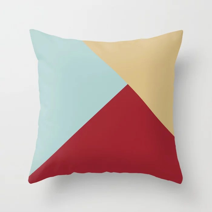Red Pastel Blue Beige Solid Color Abstract Pattern 2021 Color of the Year Satin Paprika and Accents Throw Pillow
