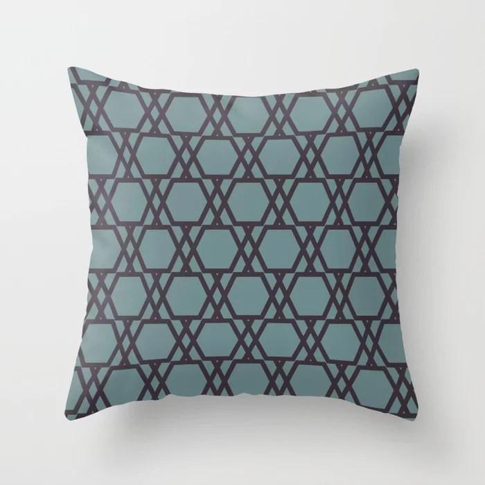 Soft Aqua Blue Purple Tessellation Line Pattern 20 2021 Color of the Year Aegean Teal Tulsa Twilight Throw Pillow