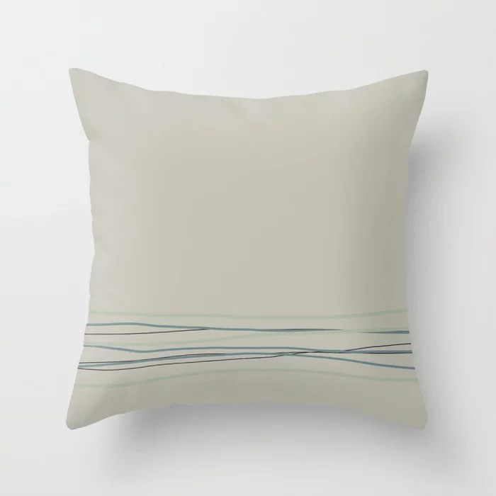 Tan Scribble Line Pattern 2021 Color of the Year Aegean Teal and Accent Shades Throw Pillow