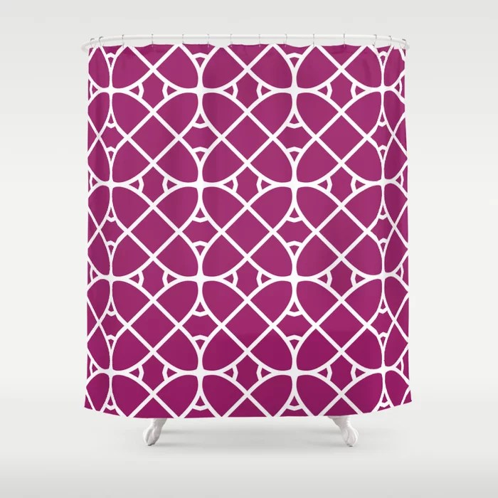 Magenta and White Oval Shape Pattern - Colour of the Year 2022 Orchid Flower 150-38-31 Shower Curtain - 2022 colour trends interior decorating fuchsia - purple - pink