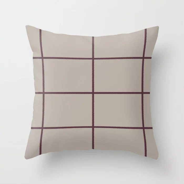 Deep Purple Taupe Gray Criss Cross Stripe Pattern 2021 Color of the Year Epoch and Fondue Throw Pillow