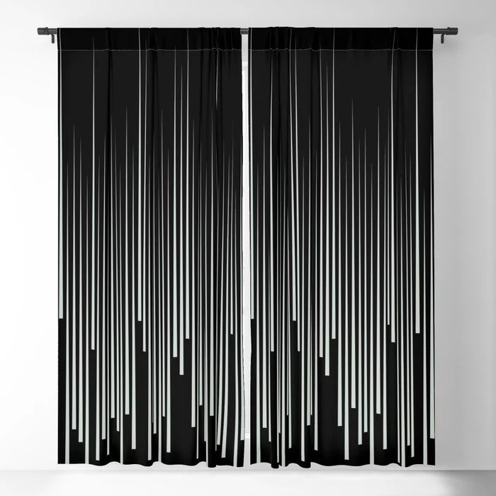 Pastel Green and Black Stripes Line Art Pattern Pairs Behr 2022 Color of the Year Breezeway MQ3-21 Blackout Curtain. Decorating colors for 2022