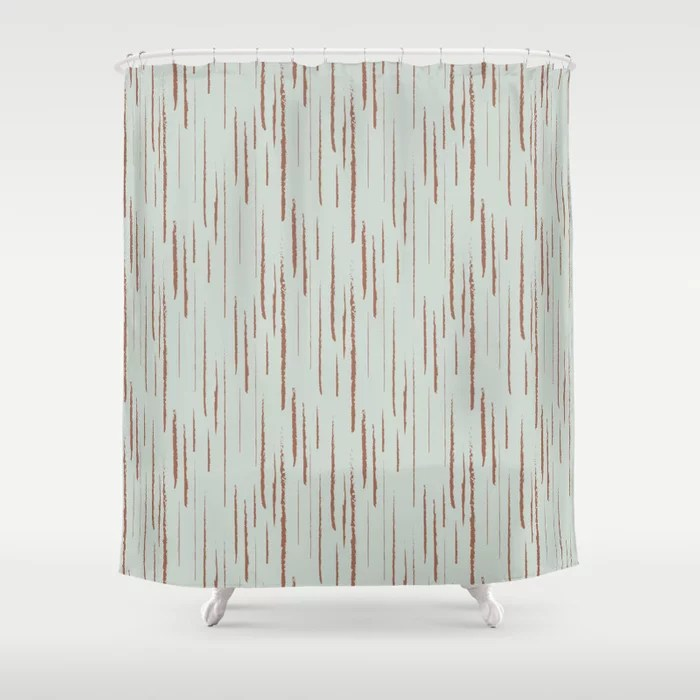 Pastel Green and Clay Vertical Stripe Pattern Pairs Behr 2022 Color of the Year Breezeway MQ3-21 Shower Curtain. 2022 color trend