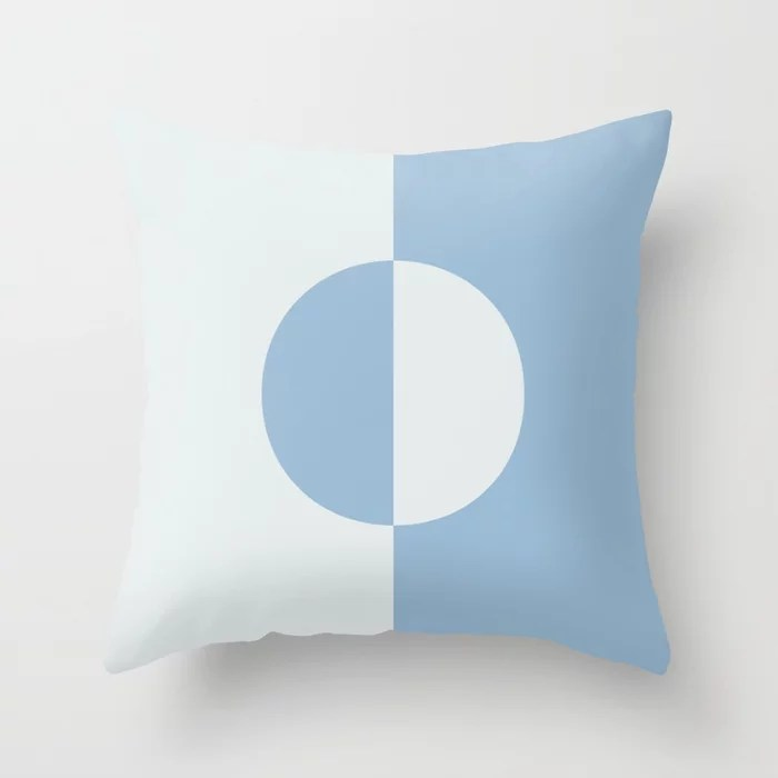 Pastel Blue and White Minimal Circle Design Throw Pillows inspired by and pairs to (matches / coordinates with) Dutch Boy 2021 Color of the Year Earth's Harmony and Cooled Breeze