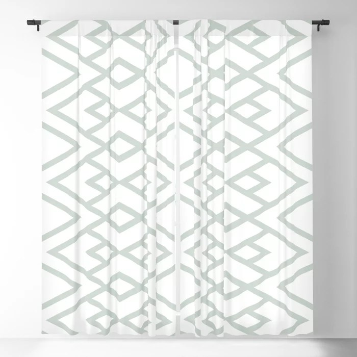 Pastel Green and White Diamond Shape Pattern Pairs Behr 2022 Color of the Year Breezeway MQ3-21 Blackout Curtain. Spring/Summer 2022 color forecast