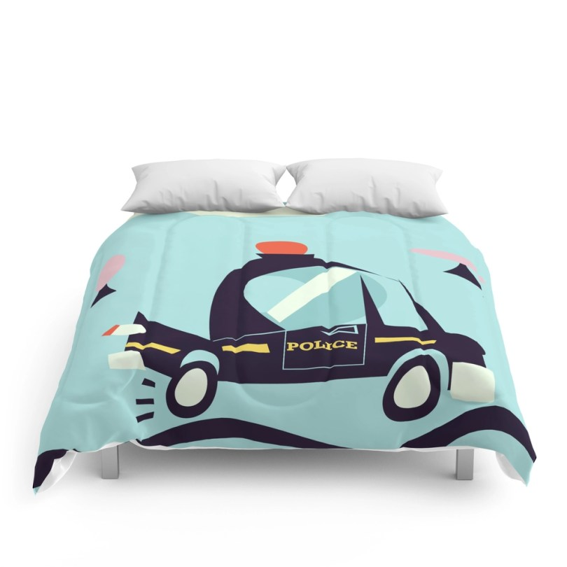 Cartoon Police Car Comforter
