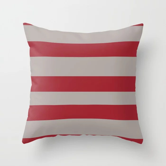 Red and Gray Wide Stripe Pattern 2021 Color of the Year Satin Paprika and Satin Driftwood Throw Pillow