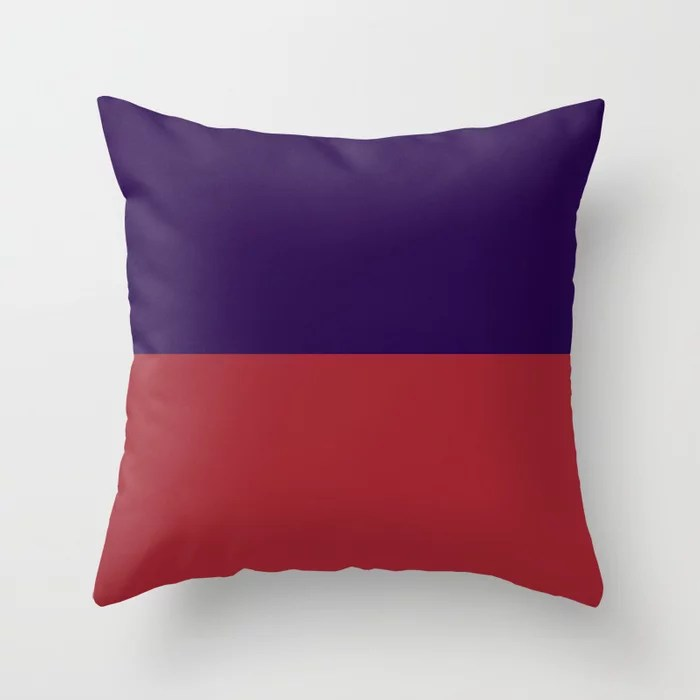 Red and Purple Minimal Line Pattern 2021 Color of the Year Satin Paprika and Purple Throw Pillow
