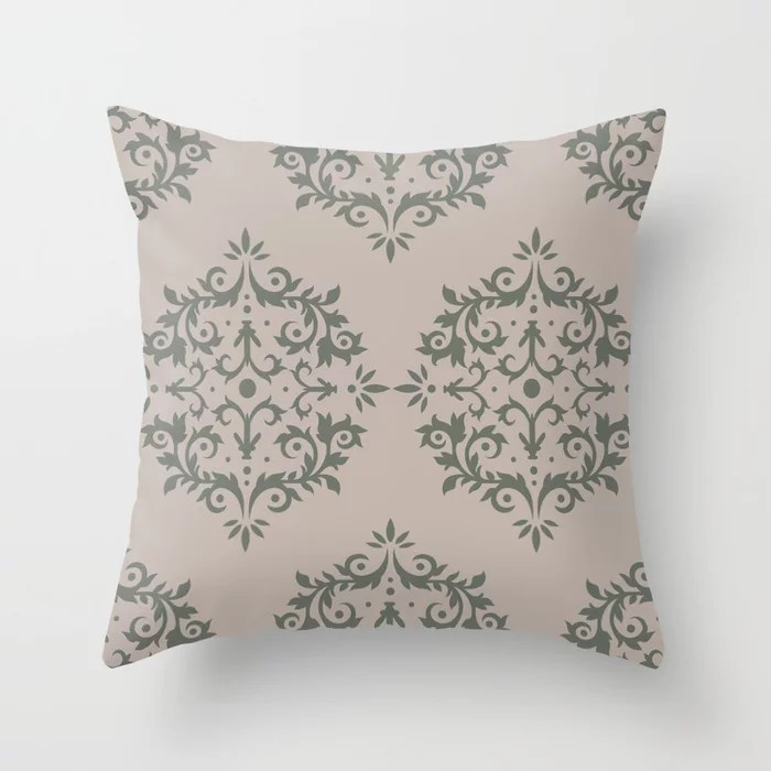 Moody Green Neutral Beige Damask Scroll Pattern 2021 Color of the Year Contemplative and Stucco Throw Pillow
