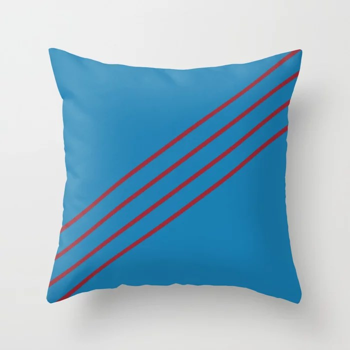 Blue and Red Angled 4 Stripe Pattern 2021 Color of the Year Satin Paprika and Satin Lagoon Throw Pillow