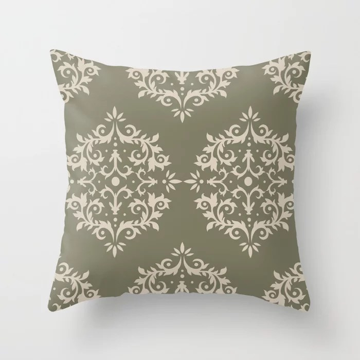 Light Beige Green Damask Scroll Pattern: Hues were inspired by and match (pair / coordinate with) 2021 Color of the Year Uptown Ecru & Sage Throw Pillow