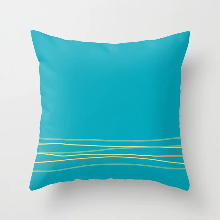 Aqua Green Red Yellow Scribble Line Design Bottom 2021 Color of the Year AI Aqua and Accent Shades Throw Pillow