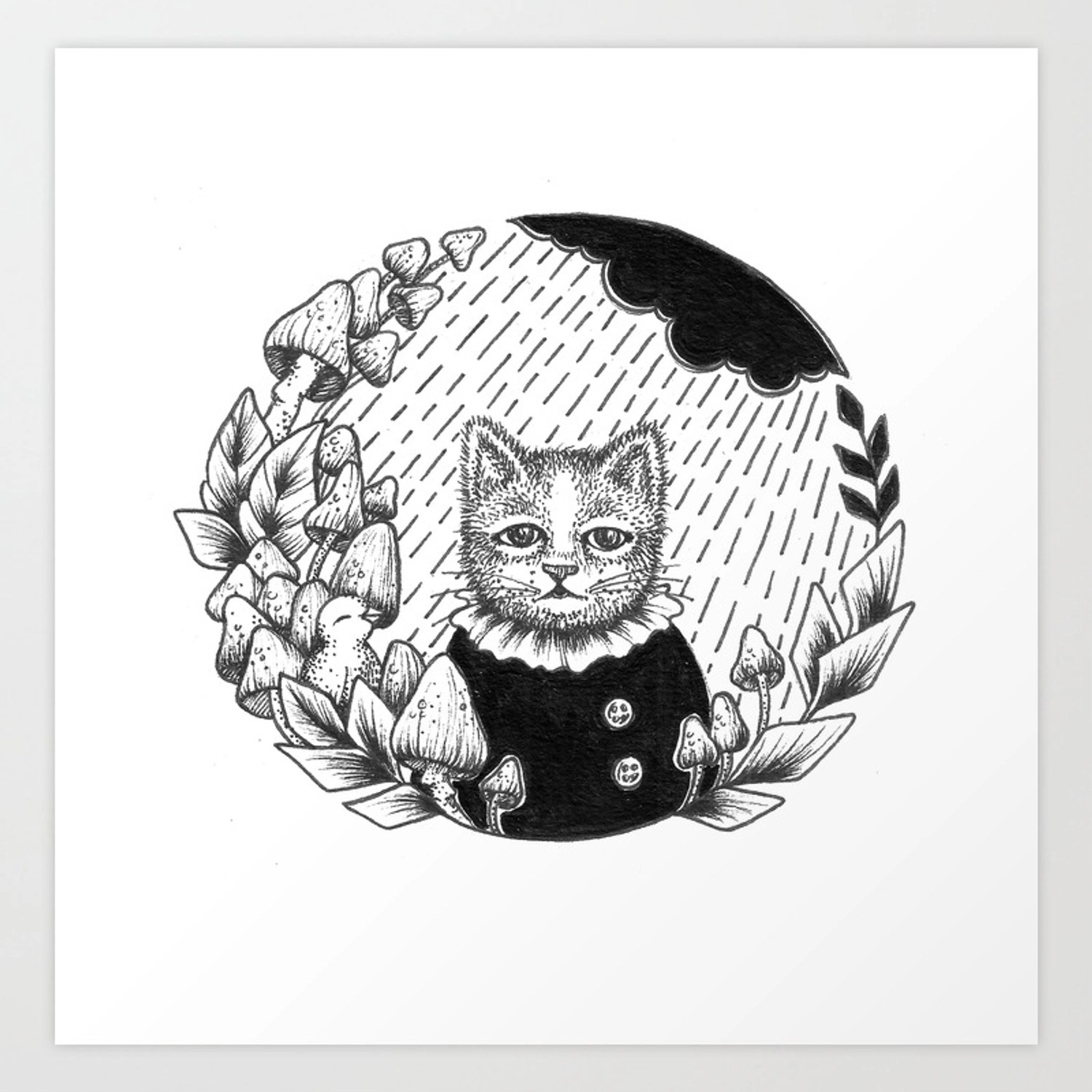 Cat Set Ink 01 Drawings Cat In Rain Art Print By Katemuir Society6