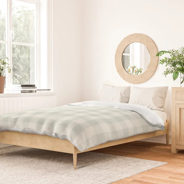 Pastel Green and Cream Buffalo Plaid Pairs Behr 2022 Color of the Year Breezeway MQ3-21 Duvet Cover. 2022 colour trend