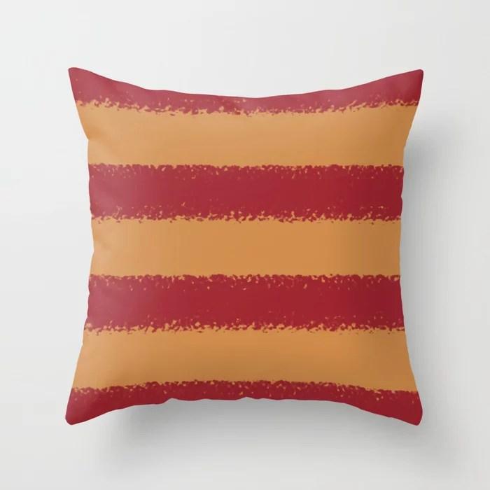 Red & Orange-Brown Minimal Sponge Stripe Pattern 2021 Color of the Year Satin Paprika & Warm Caramel Throw Pillow