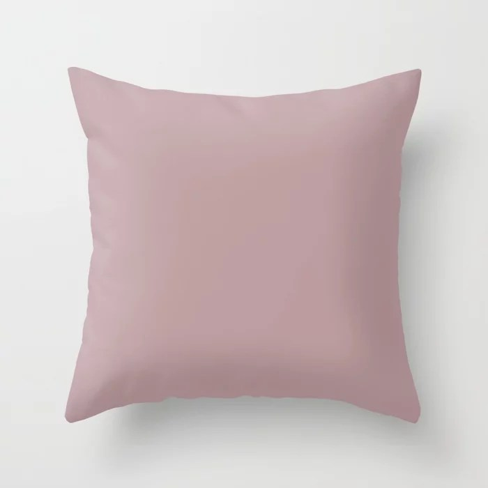Sherwin Williams Trending Colors of 2019 Orchid (Soft Muted Pink) SW 0071 Solid Color Throw Pillow