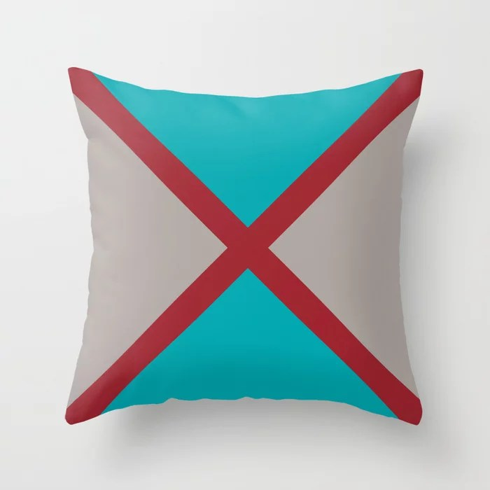 Red Aqua Gray Diagonal Stripe Design 2021 Color of the Year Satin Paprika and Accent Shades Throw Pillow