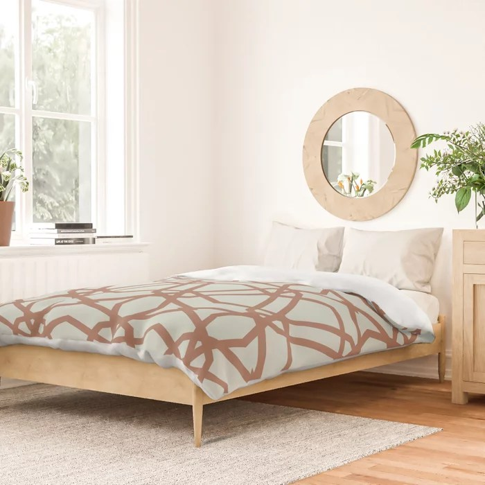 Pastel Green and Clay Line Geometric Pattern Pairs Behr 2022 Color of the Year Breezeway MQ3-21 Duvet Cover. 2022 colour trend