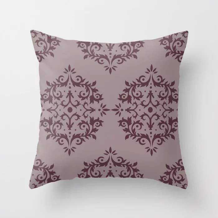 Deep Purple Pink-Purple Damask Scroll Pattern Throw Pillows inspired by and pairs to (matches / coordinates with) Graham and Brown 2021 Color of the Year Epoch & Spiced Mulberry