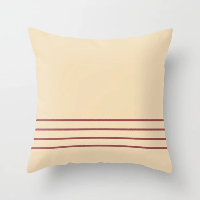 Red and Beige Minimal Thin Line Pattern 2021 Color of the Year Passionate and Diamond Weave Throw Pillow