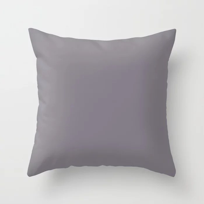 Tinted Mid-tone Grey Solid Color Pairs Coloro 2021 Color Of The Year Accent Shade Good Gray Throw Pillow