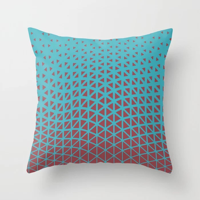 Red and Aqua Geometric Triangle Wave Pattern 2021 Color of the Year Passionate & September Skies Throw Pillow