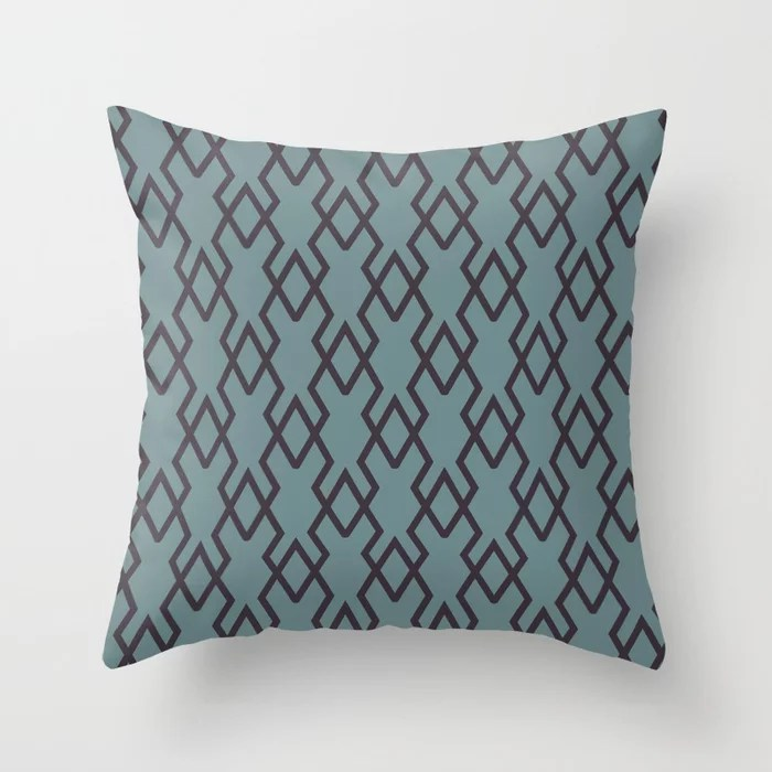 Soft Aqua Blue Purple Tessellation Line Pattern 19 2021 Color of the Year Aegean Teal Tulsa Twilight Throw Pillow