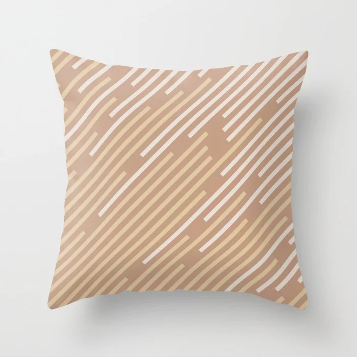 Sand Storm Beige Yellow Brown Off White Stripes 2021 Color of The Year Canyon Dusk Accent Shades Throw Pillow