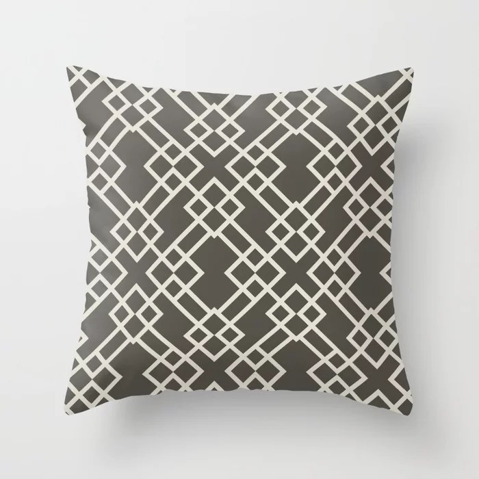 Brown and Cream Minimal Line Art Pattern V2 2021 Color of the Year Urbane Bronze and Shoji White Throw Pillow